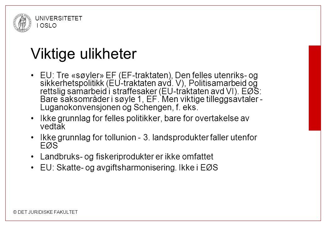 © DET JURIDISKE FAKULTET UNIVERSITETET I OSLO Viktige ulikheter EU: Tre «søyler» EF (EF-traktaten), Den felles utenriks- og sikkerhetspolitikk (EU-tra