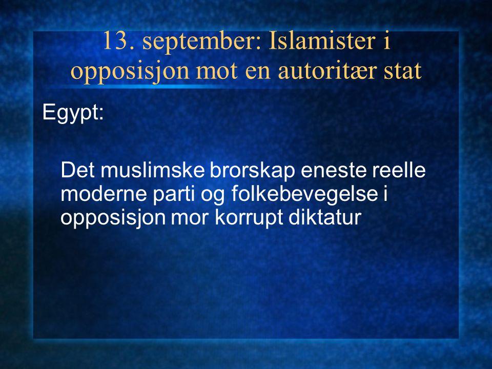 6. september: Reaksjonær eller progressiv? Islamismen, demokratiet og kvinnene Krav om demokrati, men er det forenlig med kravet om Sharia som gjelden