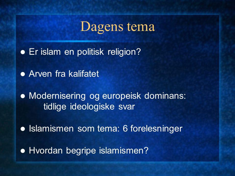 Dagens tema Er islam en politisk religion.
