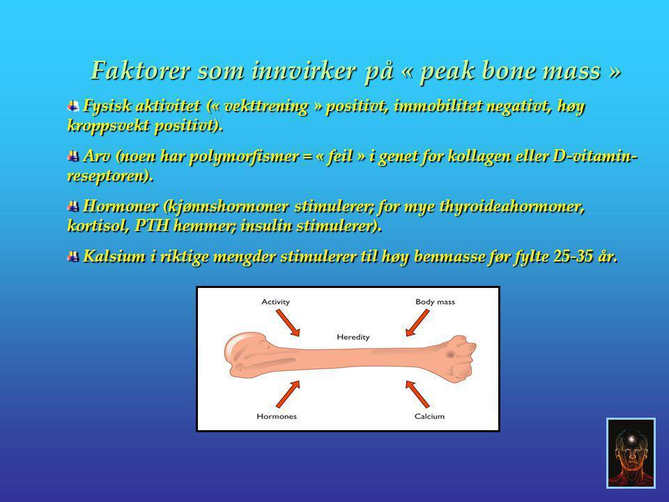 Faktorer som innvirker på « peak bone mass » Fysisk aktivitet (« vekttrening » positivt, immobilitet negativt, høy kroppsvekt positivt). Fysisk aktivi