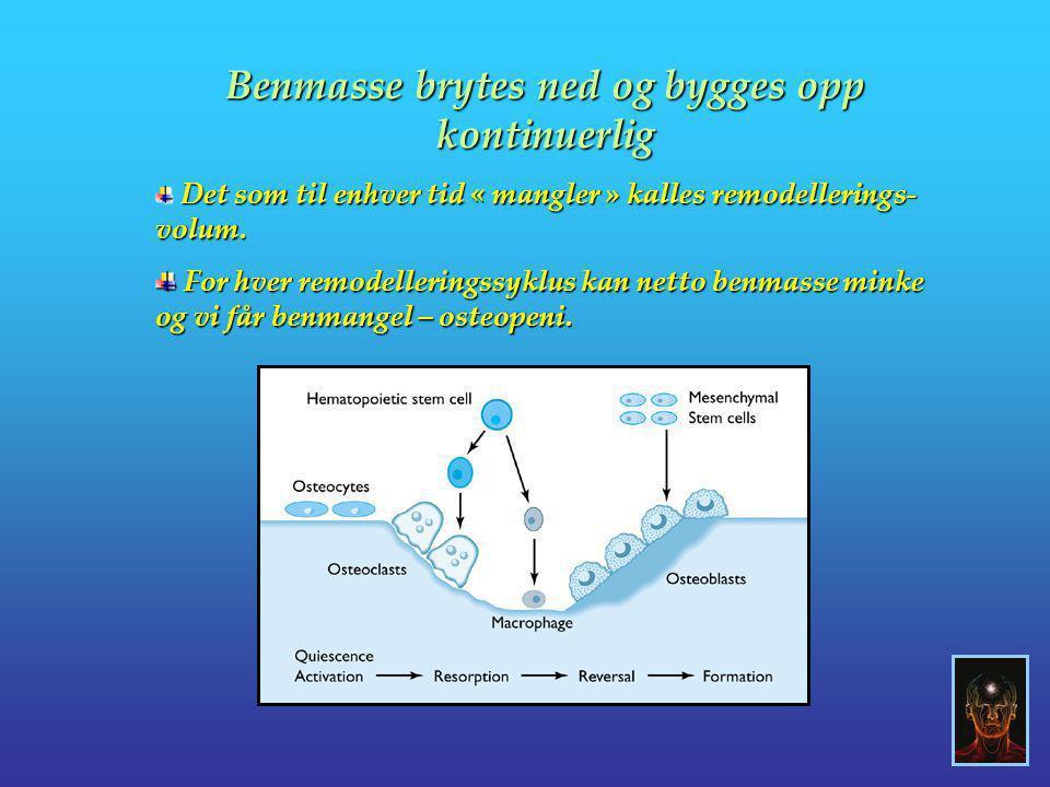 Benmasse brytes ned og bygges opp kontinuerlig Det som til enhver tid « mangler » kalles remodellerings- volum. Det som til enhver tid « mangler » kal