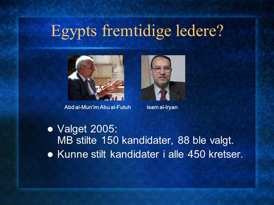 Egypts fremtidige ledere? Valget 2005: MB stilte 150 kandidater, 88 ble valgt. Kunne stilt kandidater i alle 450 kretser. Abd al-Mun'im Abu al-FutuhIs