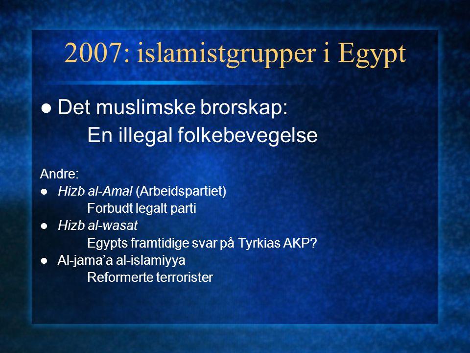 2007: islamistgrupper i Egypt Det muslimske brorskap: En illegal folkebevegelse Andre: Hizb al-Amal (Arbeidspartiet) Forbudt legalt parti Hizb al-wasat Egypts framtidige svar på Tyrkias AKP.