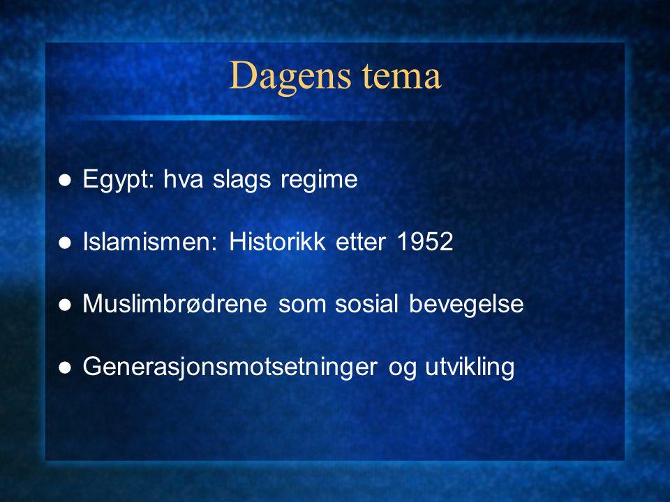 Dagens tema Egypt: hva slags regime Islamismen: Historikk etter 1952 Muslimbrødrene som sosial bevegelse Generasjonsmotsetninger og utvikling