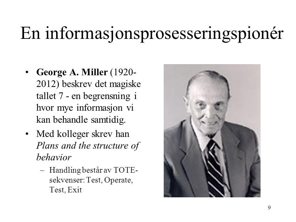 9 George A. Miller (1920- 2012) beskrev det magiske tallet 7 - en begrensning i hvor mye informasjon vi kan behandle samtidig. Med kolleger skrev han