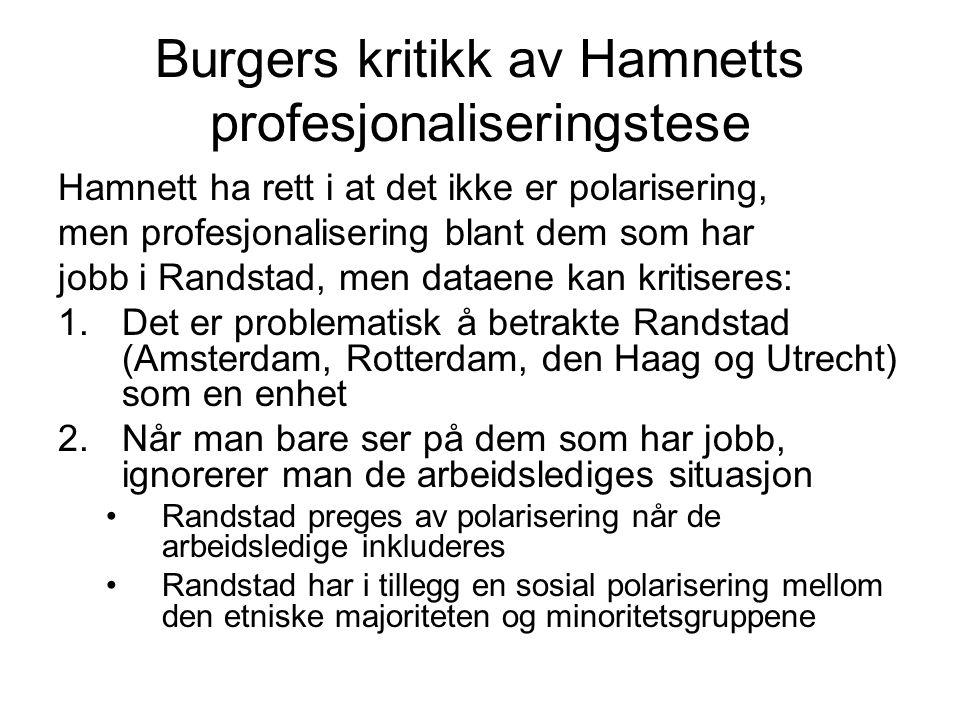 Burgers kritikk av Hamnetts profesjonaliseringstese Hamnett ha rett i at det ikke er polarisering, men profesjonalisering blant dem som har jobb i Randstad, men dataene kan kritiseres: 1.Det er problematisk å betrakte Randstad (Amsterdam, Rotterdam, den Haag og Utrecht) som en enhet 2.Når man bare ser på dem som har jobb, ignorerer man de arbeidslediges situasjon Randstad preges av polarisering når de arbeidsledige inkluderes Randstad har i tillegg en sosial polarisering mellom den etniske majoriteten og minoritetsgruppene