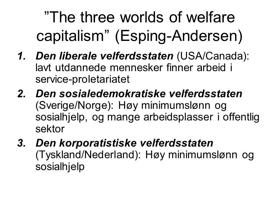 The three worlds of welfare capitalism (Esping-Andersen) 1.Den liberale velferdsstaten (USA/Canada): lavt utdannede mennesker finner arbeid i service-proletariatet 2.Den sosialedemokratiske velferdsstaten (Sverige/Norge): Høy minimumslønn og sosialhjelp, og mange arbeidsplasser i offentlig sektor 3.Den korporatistiske velferdsstaten (Tyskland/Nederland): Høy minimumslønn og sosialhjelp