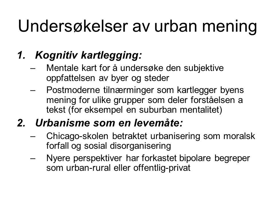 Undersøkelser av urban mening 1.Kognitiv kartlegging: –Mentale kart for å undersøke den subjektive oppfattelsen av byer og steder –Postmoderne tilnærm