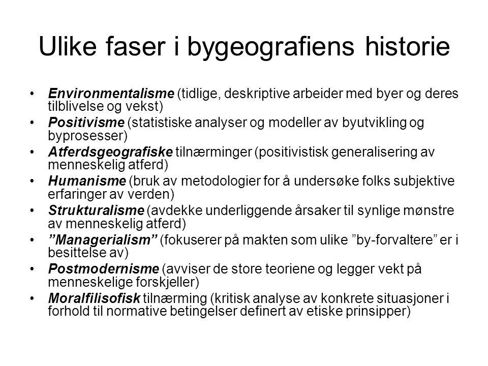 Ulike faser i bygeografiens historie Environmentalisme (tidlige, deskriptive arbeider med byer og deres tilblivelse og vekst) Positivisme (statistiske