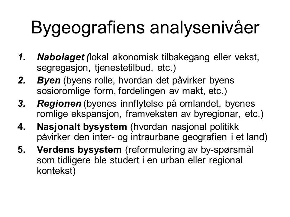 Bygeografiens analysenivåer 1.Nabolaget (lokal økonomisk tilbakegang eller vekst, segregasjon, tjenestetilbud, etc.) 2.Byen (byens rolle, hvordan det