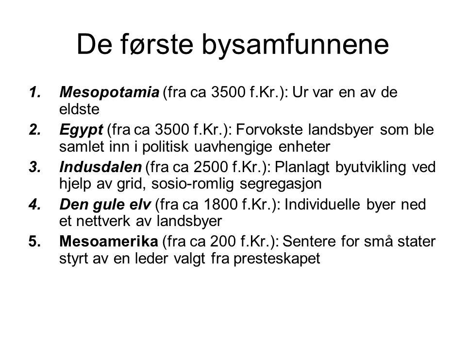 De første bysamfunnene 1.Mesopotamia (fra ca 3500 f.Kr.): Ur var en av de eldste 2.Egypt (fra ca 3500 f.Kr.): Forvokste landsbyer som ble samlet inn i