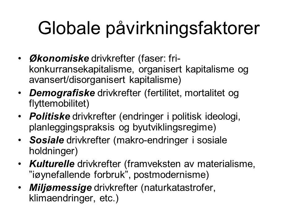 Globalisering 1.Økonomisk globalisering (endringer i produksjon, utveksling, fordeling og forbruk av varer og tjenester) 2.Politisk globalisering (endringer i konsentrasjon og bruk av makt) 3.Kulturell globalisering (endringer i produksjon, utveksling og formidling av symboler som representerer fakta, oppfatninger, tro, preferanser, smak og verdier)