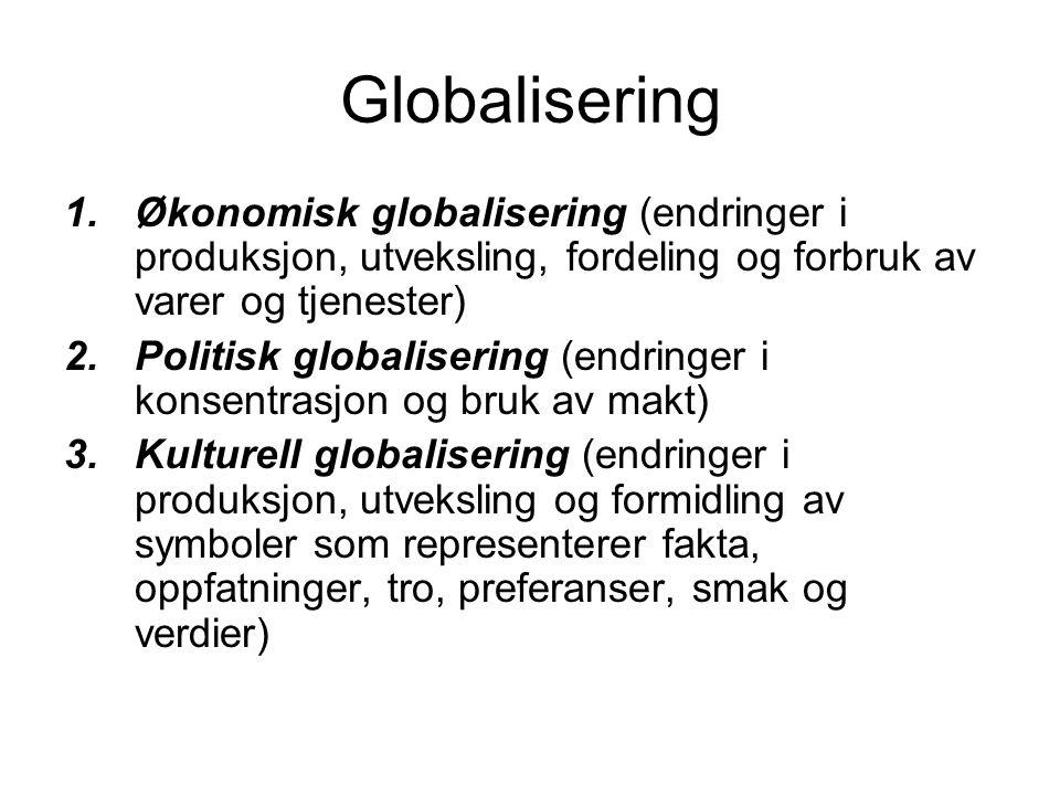 Globalisering 1.Økonomisk globalisering (endringer i produksjon, utveksling, fordeling og forbruk av varer og tjenester) 2.Politisk globalisering (end