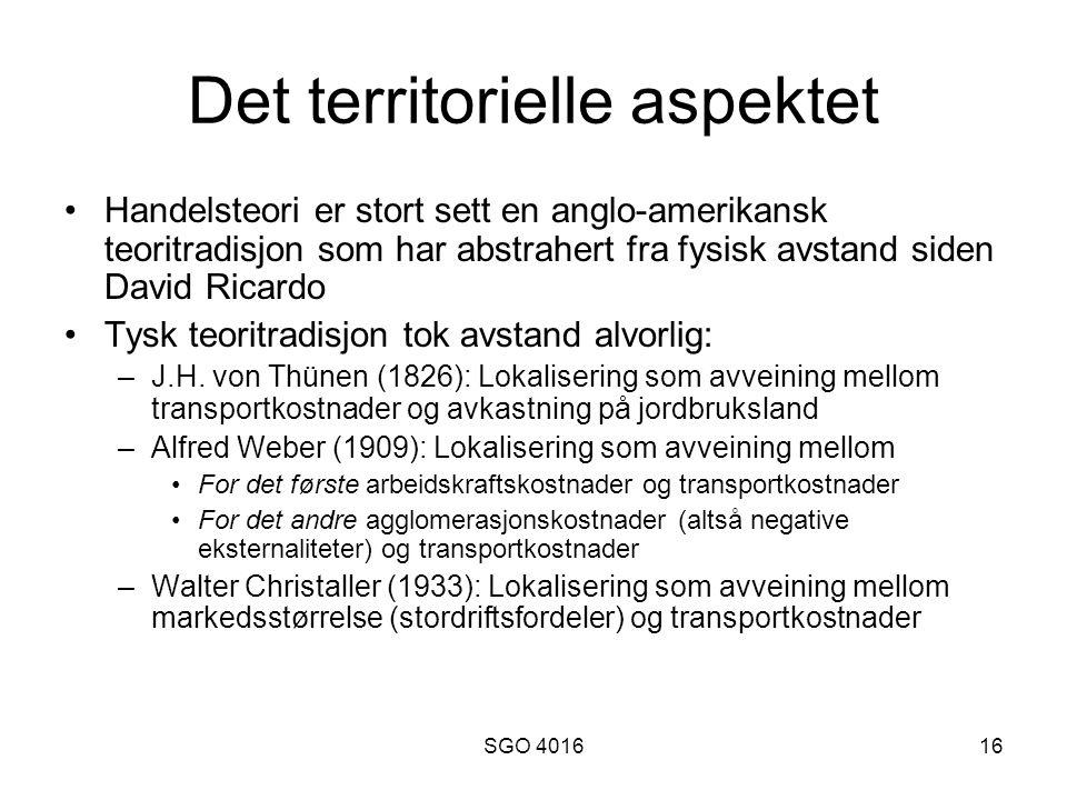 SGO 401616 Det territorielle aspektet Handelsteori er stort sett en anglo-amerikansk teoritradisjon som har abstrahert fra fysisk avstand siden David Ricardo Tysk teoritradisjon tok avstand alvorlig: –J.H.