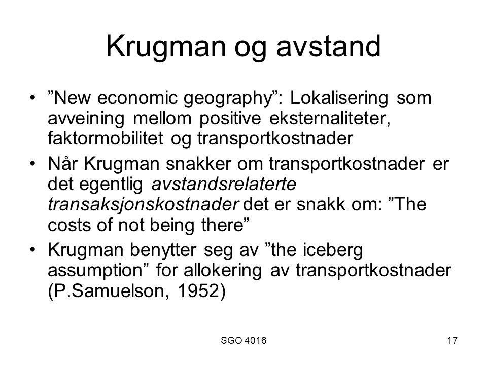SGO 401617 Krugman og avstand New economic geography : Lokalisering som avveining mellom positive eksternaliteter, faktormobilitet og transportkostnader Når Krugman snakker om transportkostnader er det egentlig avstandsrelaterte transaksjonskostnader det er snakk om: The costs of not being there Krugman benytter seg av the iceberg assumption for allokering av transportkostnader (P.Samuelson, 1952)
