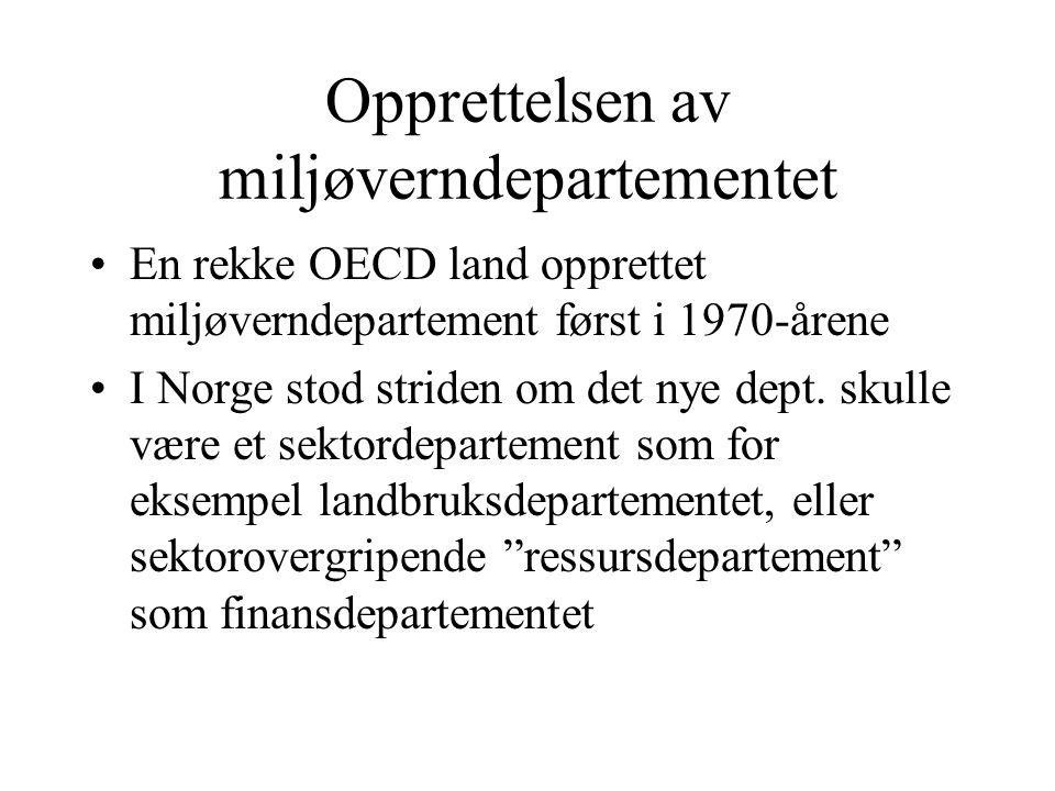 Opprettelsen av miljøverndepartementet En rekke OECD land opprettet miljøverndepartement først i 1970-årene I Norge stod striden om det nye dept. skul