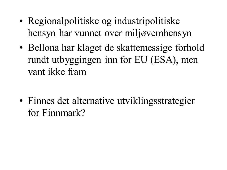 Regionalpolitiske og industripolitiske hensyn har vunnet over miljøvernhensyn Bellona har klaget de skattemessige forhold rundt utbyggingen inn for EU