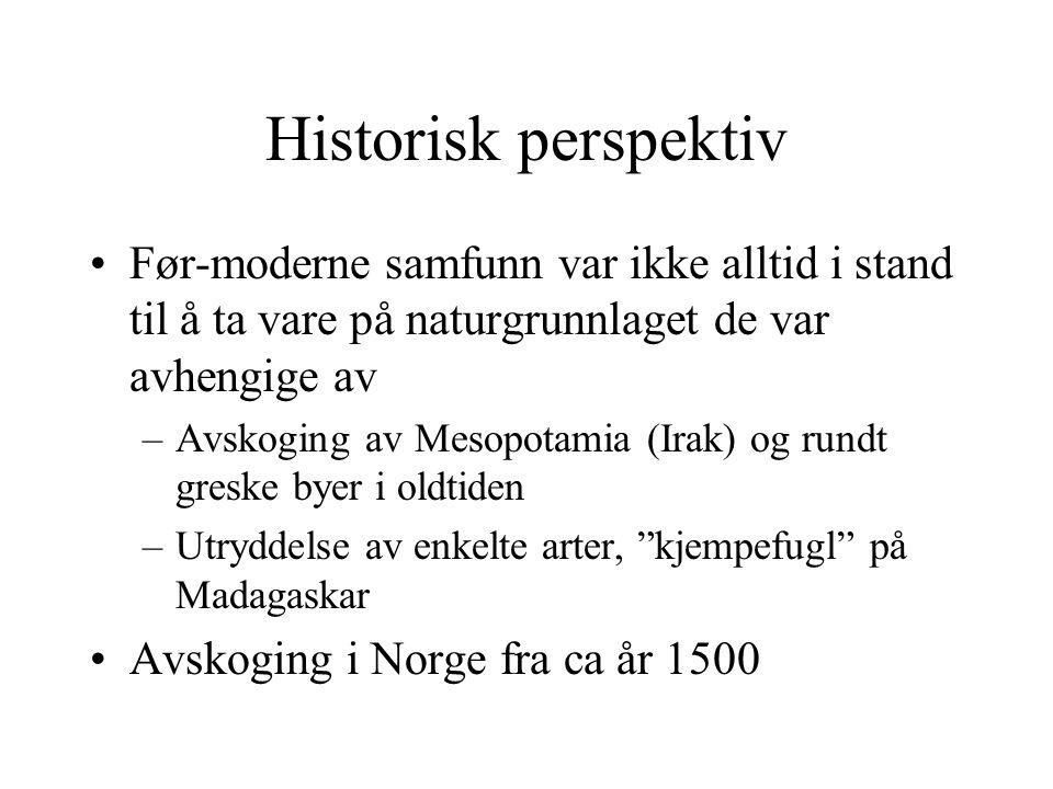 Historisk perspektiv Før-moderne samfunn var ikke alltid i stand til å ta vare på naturgrunnlaget de var avhengige av –Avskoging av Mesopotamia (Irak)