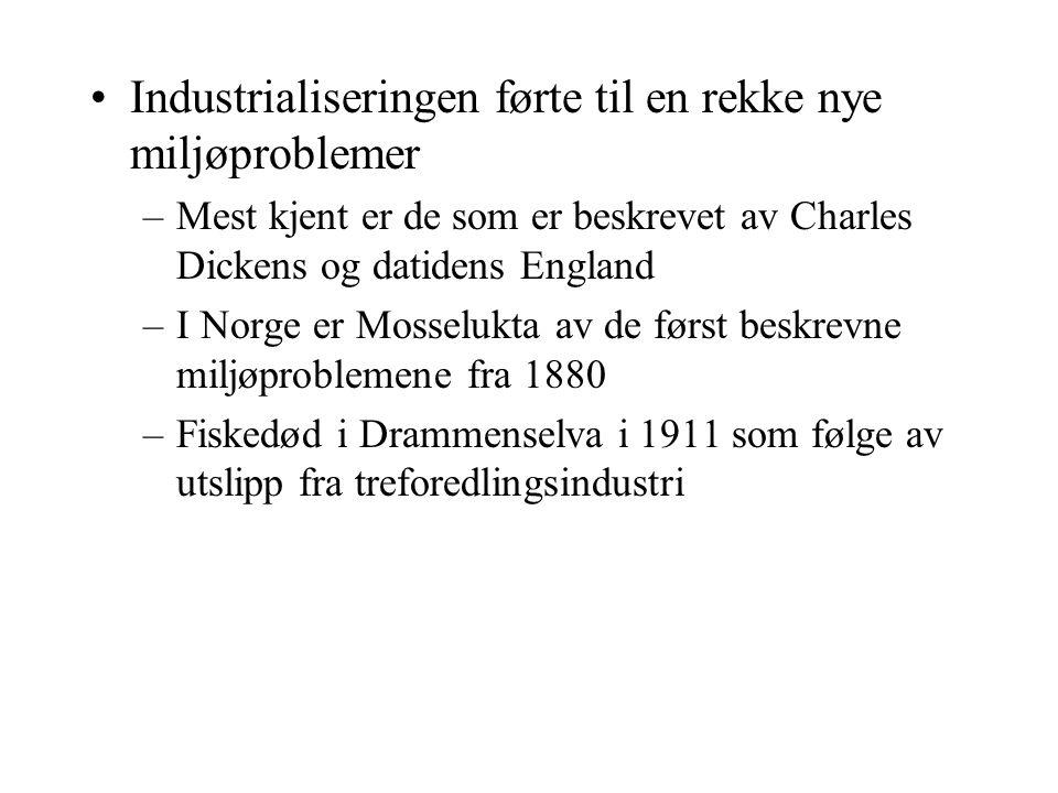 Industrialiseringen førte til en rekke nye miljøproblemer –Mest kjent er de som er beskrevet av Charles Dickens og datidens England –I Norge er Mossel