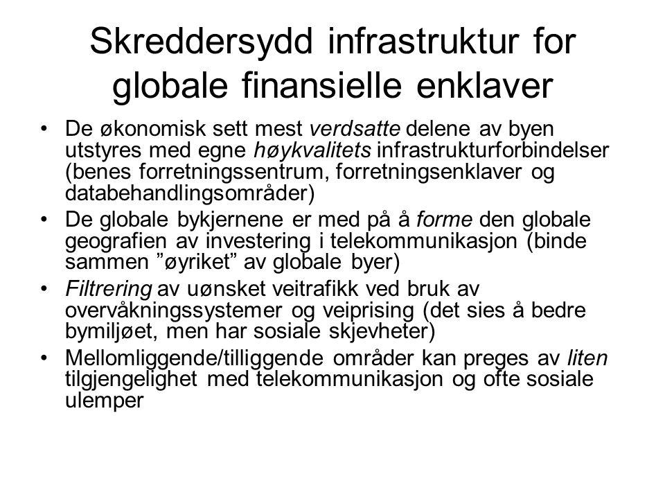 Skreddersydd infrastruktur for globale finansielle enklaver De økonomisk sett mest verdsatte delene av byen utstyres med egne høykvalitets infrastrukt