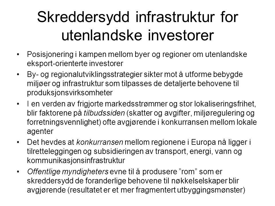 Skreddersydd infrastruktur for utenlandske investorer Posisjonering i kampen mellom byer og regioner om utenlandske eksport-orienterte investorer By-