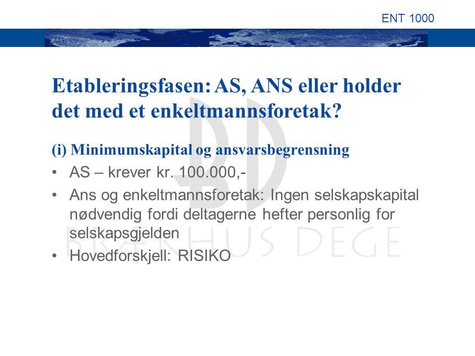 ENT 1000 (i) Minimumskapital og ansvarsbegrensning AS – krever kr.