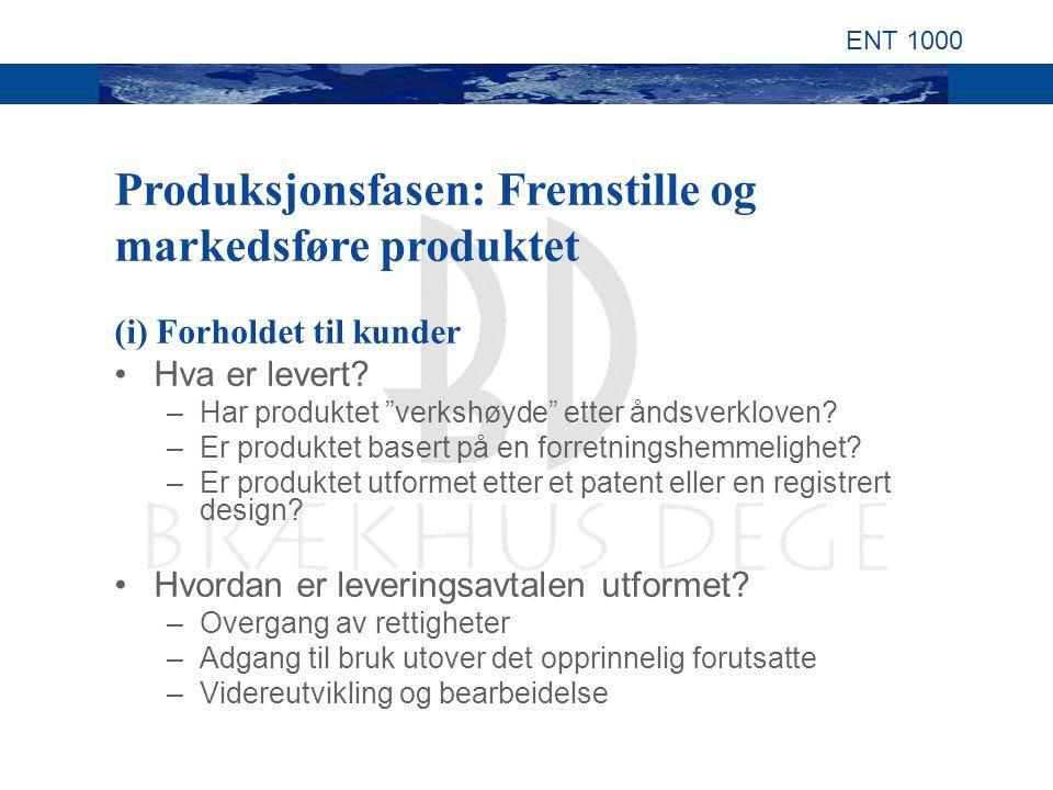 ENT 1000 (i) Forholdet til kunder Hva er levert. –Har produktet verkshøyde etter åndsverkloven.
