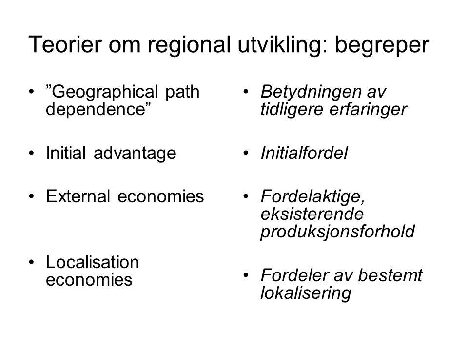 "Teorier om regional utvikling: begreper ""Geographical path dependence"" Initial advantage External economies Localisation economies Betydningen av tidl"