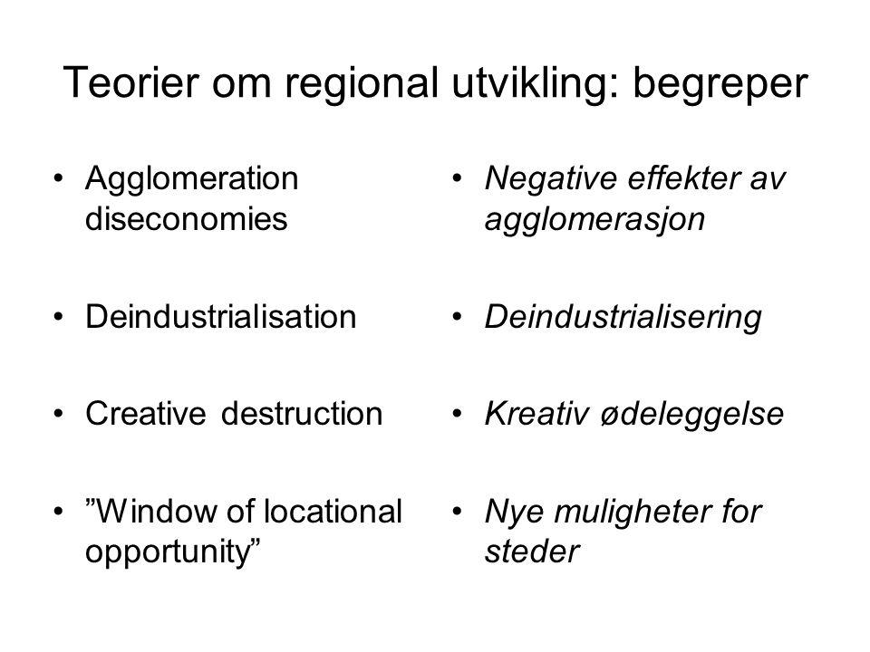 "Teorier om regional utvikling: begreper Agglomeration diseconomies Deindustrialisation Creative destruction ""Window of locational opportunity"" Negativ"