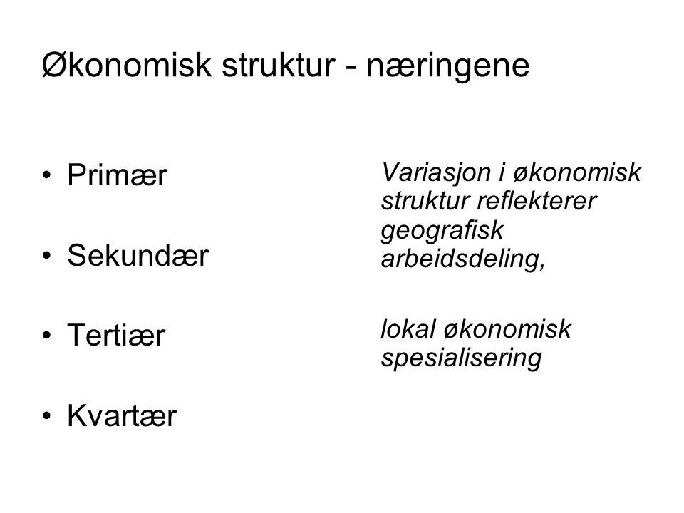 Økonomisk struktur - næringene Primær Sekundær Tertiær Kvartær Variasjon i økonomisk struktur reflekterer geografisk arbeidsdeling, lokal økonomisk sp