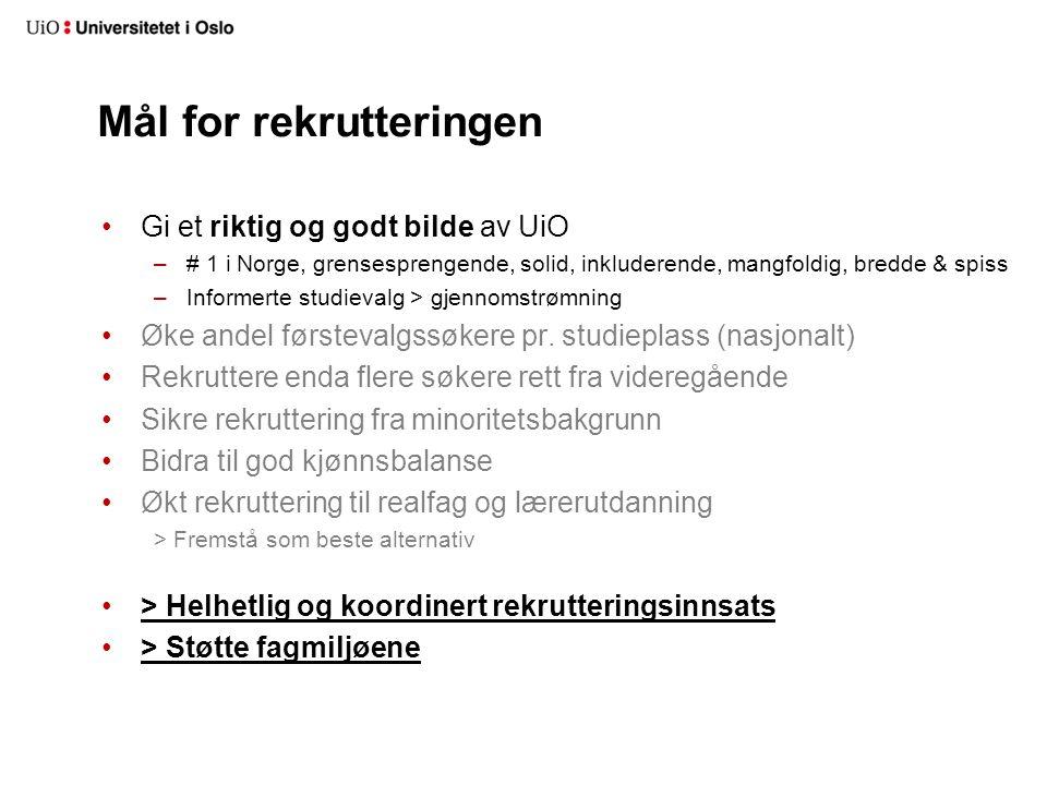 Mål for rekrutteringen Gi et riktig og godt bilde av UiO –# 1 i Norge, grensesprengende, solid, inkluderende, mangfoldig, bredde & spiss –Informerte s