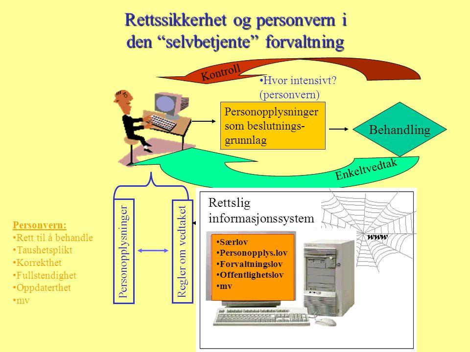 Rettssikkerhet og personvern i den selvbetjente forvaltning Personopplysninger Regler om vedtaket .