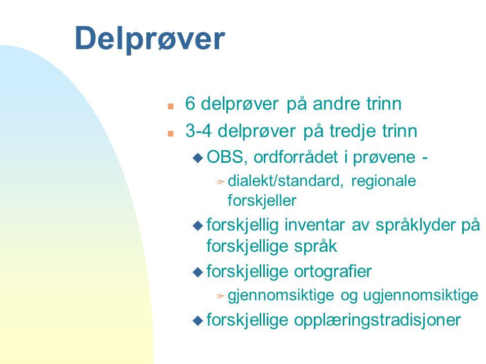 Delprøver n 6 delprøver på andre trinn n 3-4 delprøver på tredje trinn u OBS, ordforrådet i prøvene - F dialekt/standard, regionale forskjeller u fors