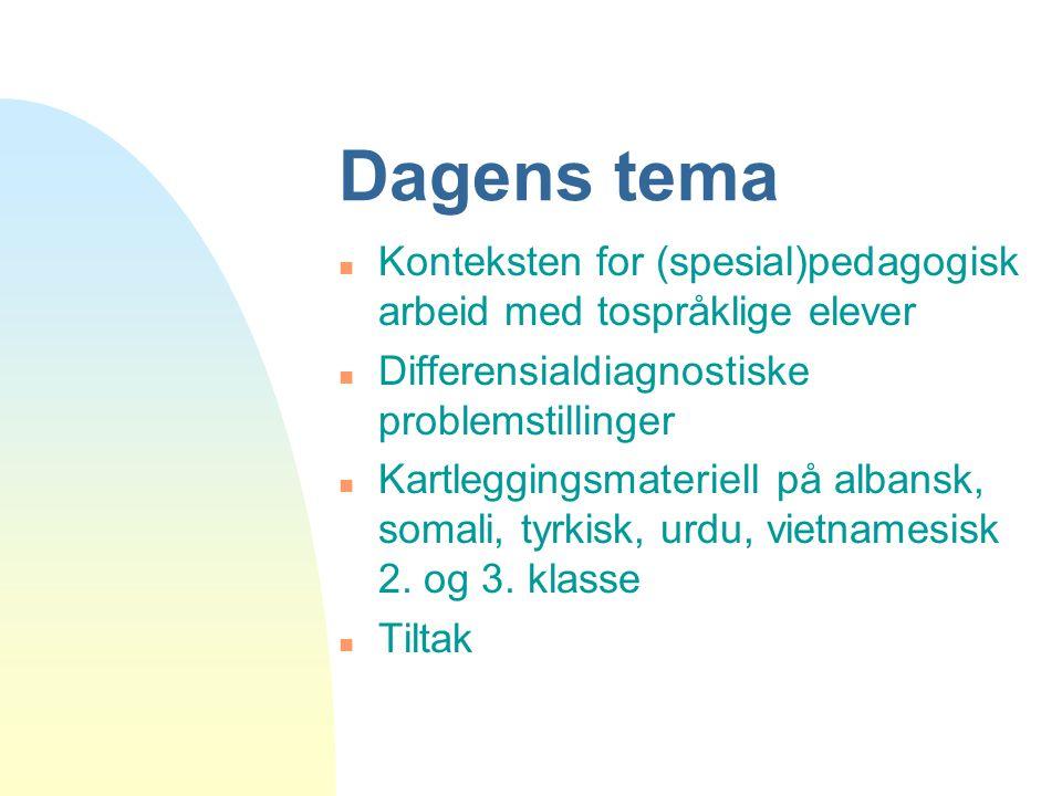 Dagens tema n Konteksten for (spesial)pedagogisk arbeid med tospråklige elever n Differensialdiagnostiske problemstillinger n Kartleggingsmateriell på