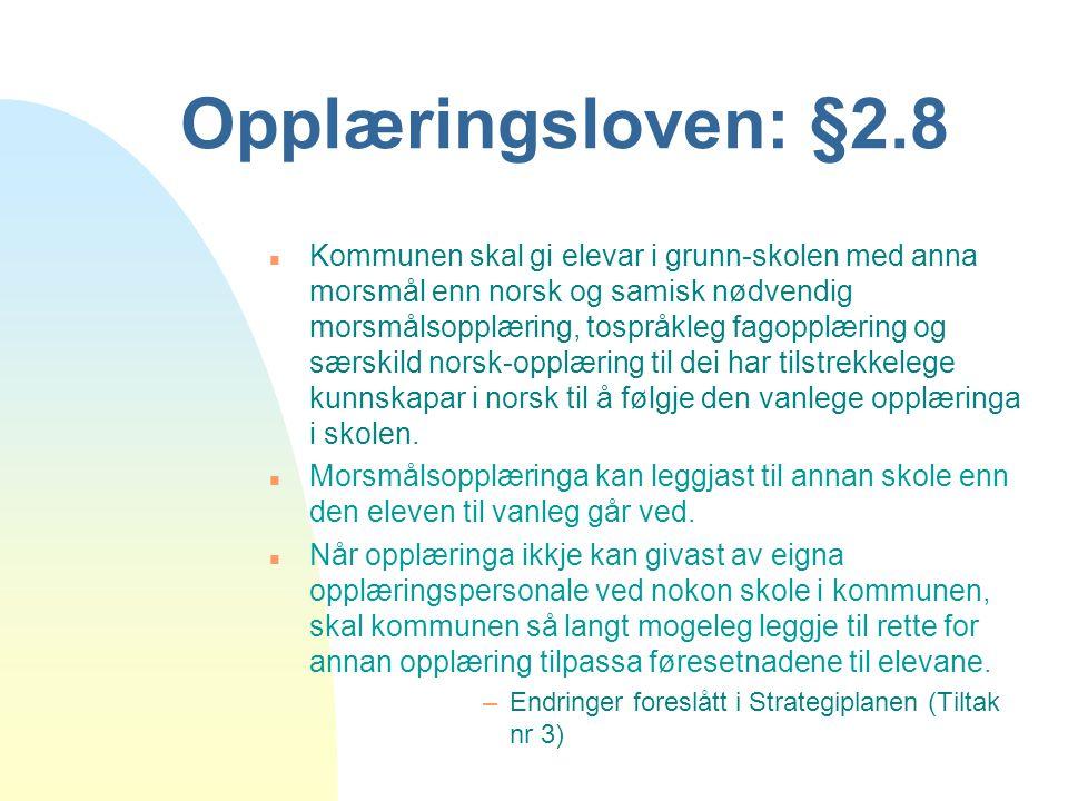 Opplæringsloven: §2.8 n Kommunen skal gi elevar i grunn-skolen med anna morsmål enn norsk og samisk nødvendig morsmålsopplæring, tospråkleg fagopplæri