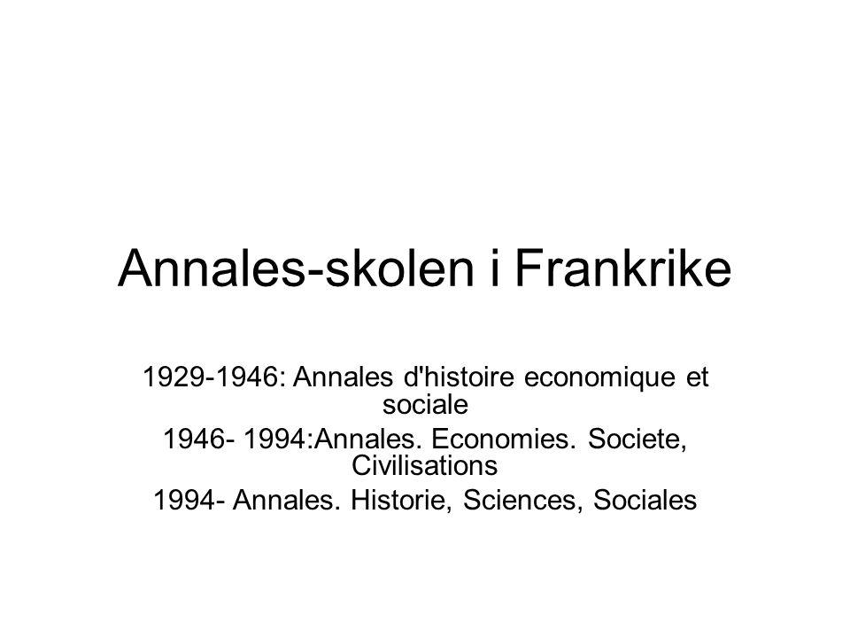 Annales-skolen i Frankrike 1929-1946: Annales d histoire economique et sociale 1946- 1994:Annales.
