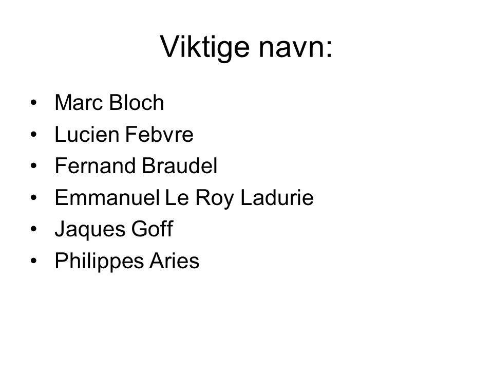 Viktige navn: Marc Bloch Lucien Febvre Fernand Braudel Emmanuel Le Roy Ladurie Jaques Goff Philippes Aries