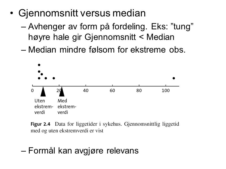"""Gjennomsnitt versus median –Avhenger av form på fordeling. Eks: """"tung"""" høyre hale gir Gjennomsnitt < Median –Median mindre følsom for ekstreme obs. –F"""