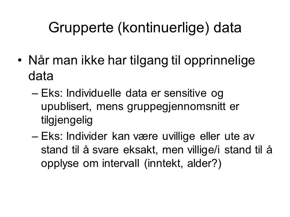 Grupperte (kontinuerlige) data Når man ikke har tilgang til opprinnelige data –Eks: Individuelle data er sensitive og upublisert, mens gruppegjennomsn