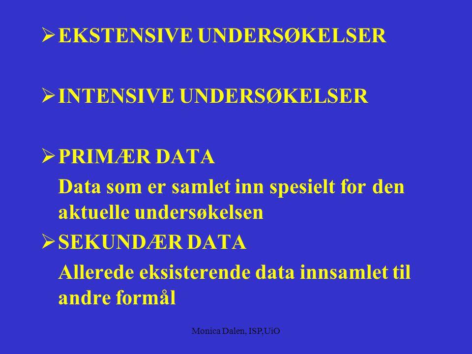 Monica Dalen, ISP,UiO ULIKE METODER FOR INNSAMLING AV DATA  FELTSTUDIER  Observasjon  Intervju  Dokumentanalyse  SURVEY-STUDIER  Enquete  Inter