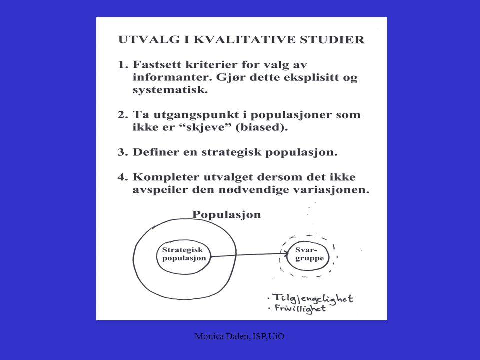 """Monica Dalen, ISP,UiO Barn/Unge  Elevmeninger om skolen (Lund, 1984)  Barn av alkoholmisbrukere (Trydal, 1993)  To eller flere informantgrupper  """""""