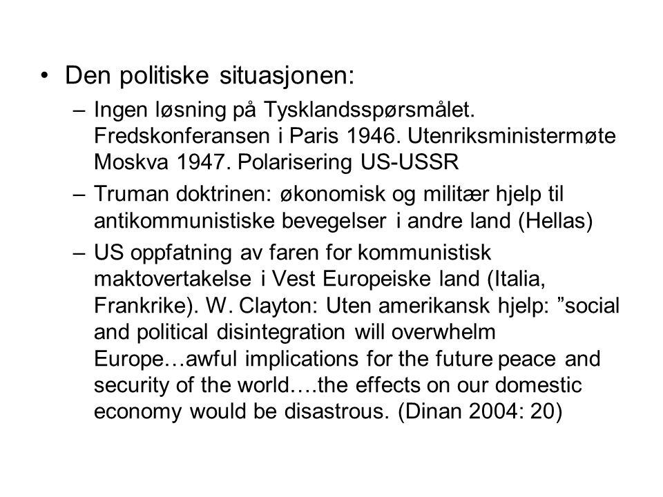Den politiske situasjonen: –Ingen løsning på Tysklandsspørsmålet. Fredskonferansen i Paris 1946. Utenriksministermøte Moskva 1947. Polarisering US-USS