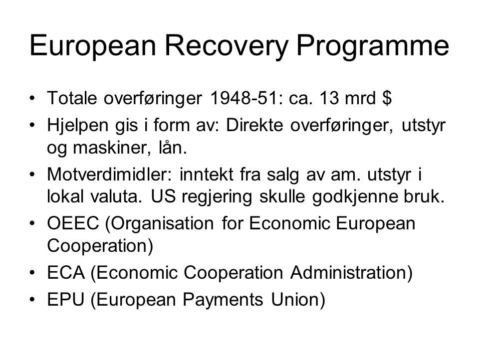 European Recovery Programme Totale overføringer 1948-51: ca. 13 mrd $ Hjelpen gis i form av: Direkte overføringer, utstyr og maskiner, lån. Motverdimi