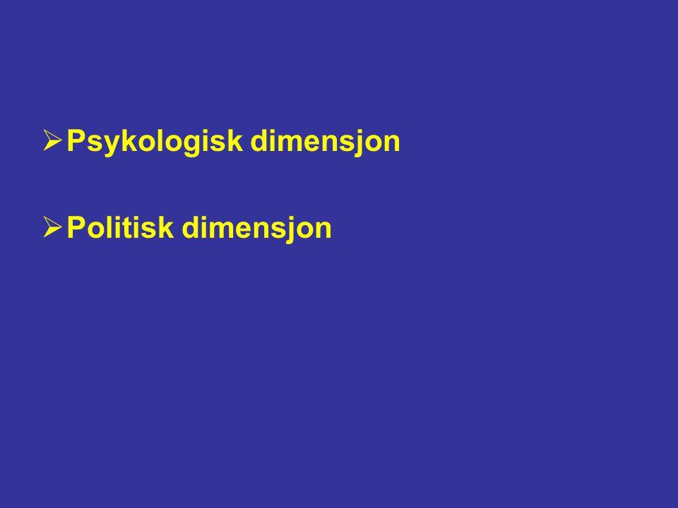  Psykologisk dimensjon  Politisk dimensjon