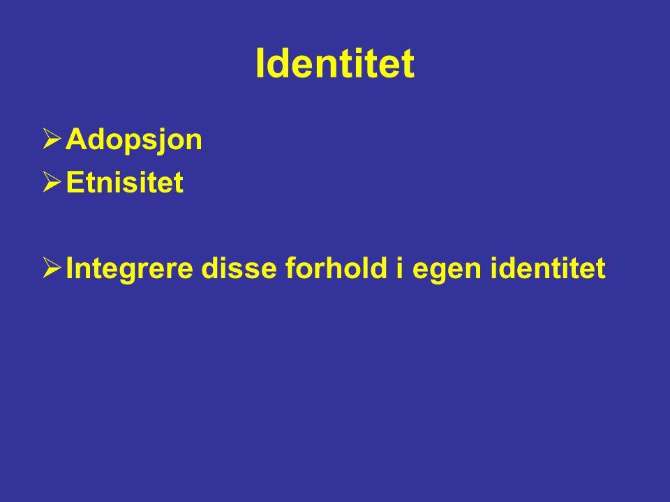 Identitet  Adopsjon  Etnisitet  Integrere disse forhold i egen identitet