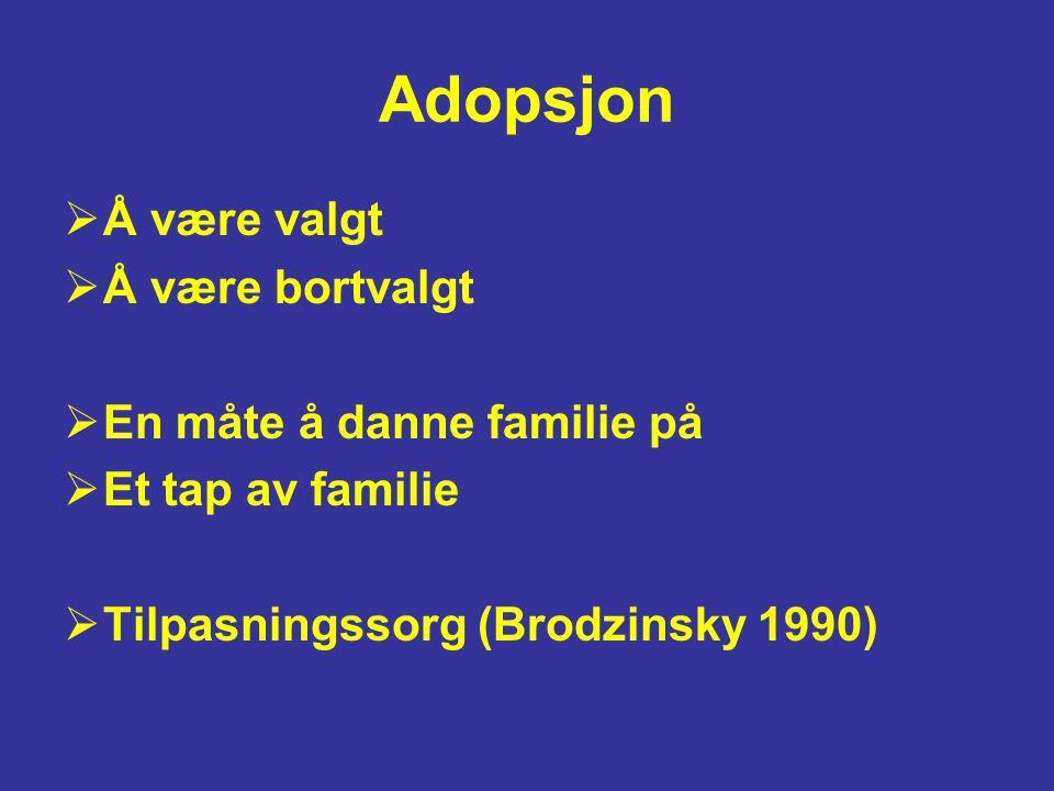 Adopsjon  Å være valgt  Å være bortvalgt  En måte å danne familie på  Et tap av familie  Tilpasningssorg (Brodzinsky 1990)