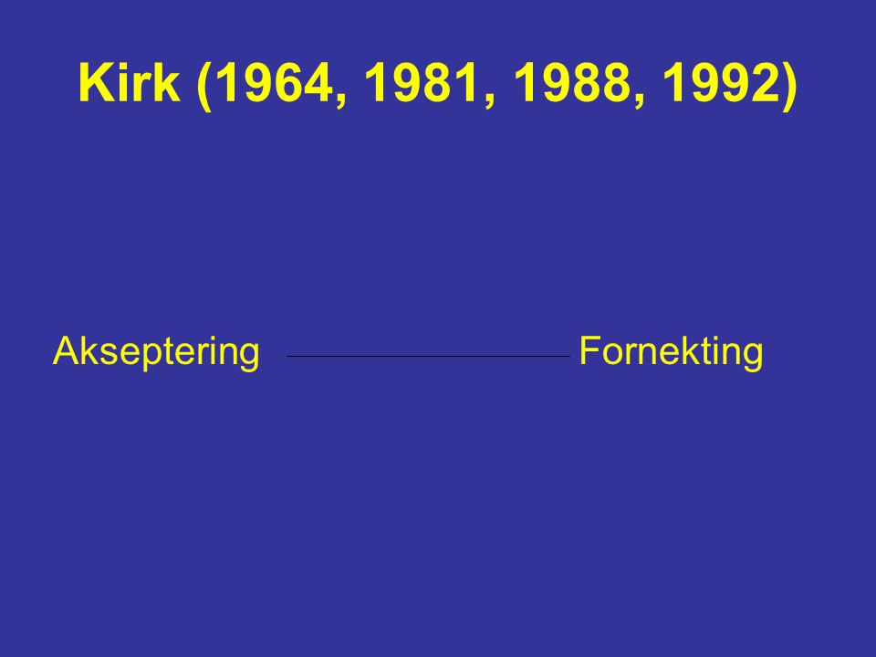 Dalen/Sætersdal (1992,1999) Akseptering Fornekting Stressing