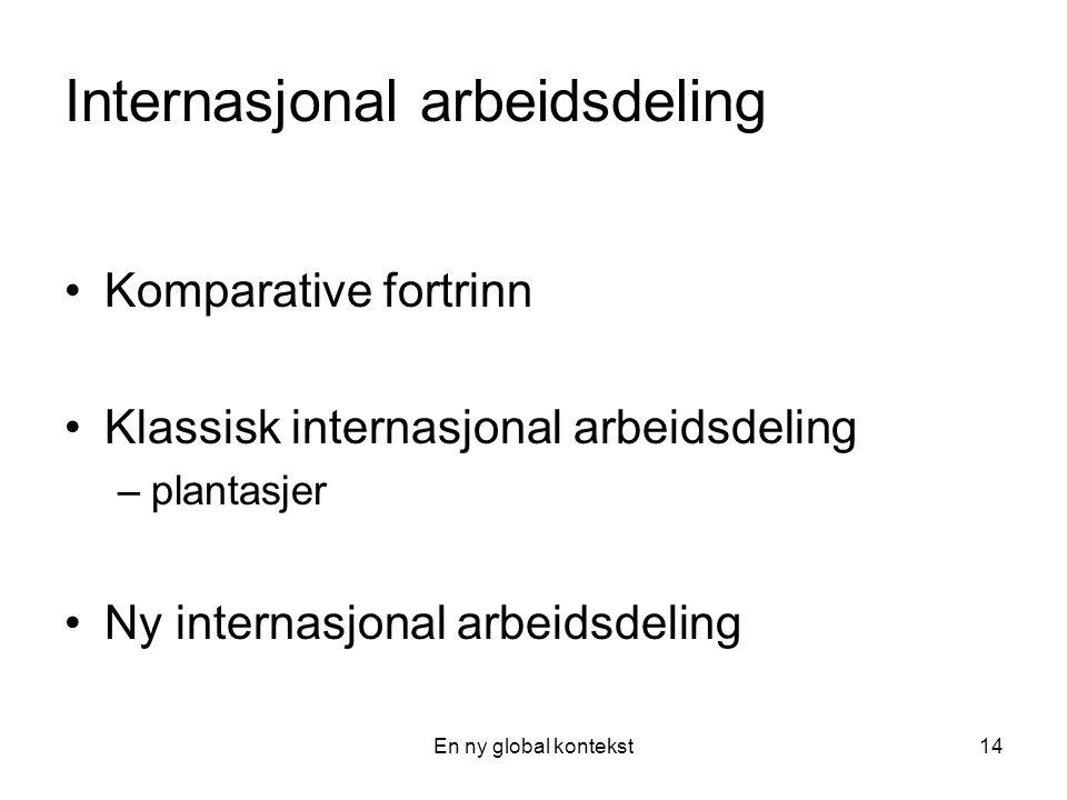 En ny global kontekst14 Internasjonal arbeidsdeling Komparative fortrinn Klassisk internasjonal arbeidsdeling –plantasjer Ny internasjonal arbeidsdeling