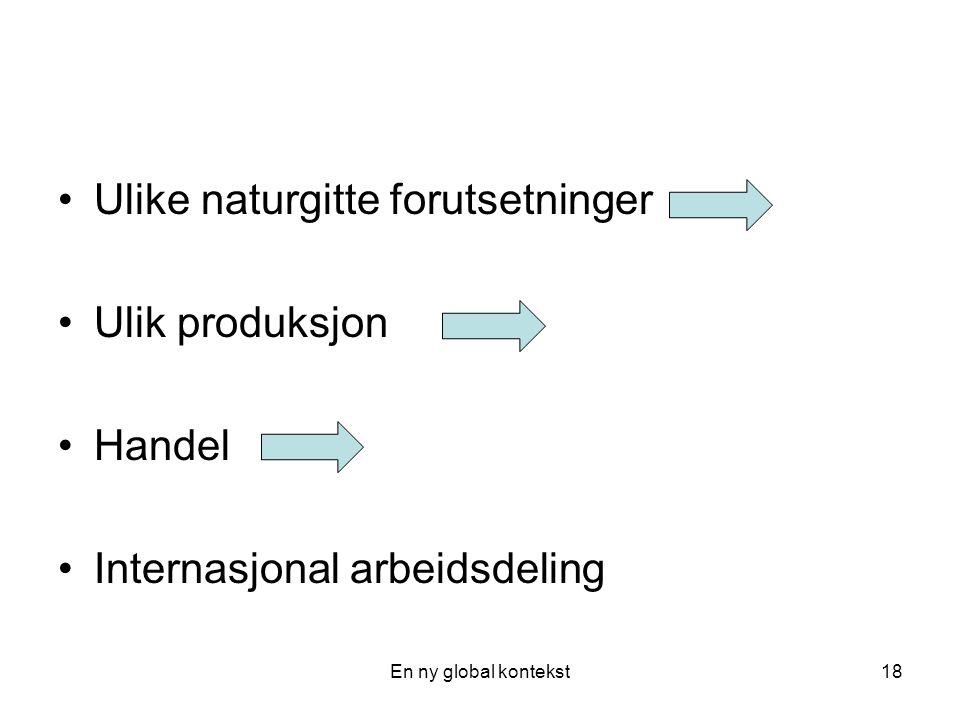 En ny global kontekst18 Ulike naturgitte forutsetninger Ulik produksjon Handel Internasjonal arbeidsdeling