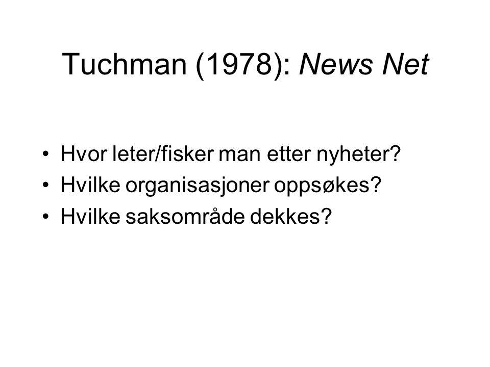Tuchman (1978): News Net Hvor leter/fisker man etter nyheter? Hvilke organisasjoner oppsøkes? Hvilke saksområde dekkes?